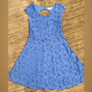 Royal blue, lace mini dress.